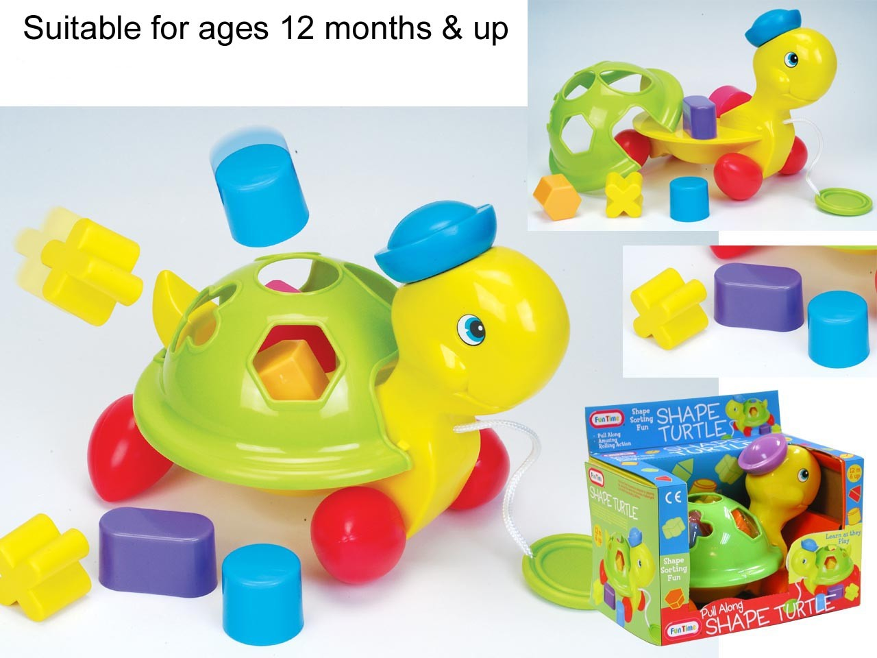 New Pull Along Shape Turtle Toy Activity Toys