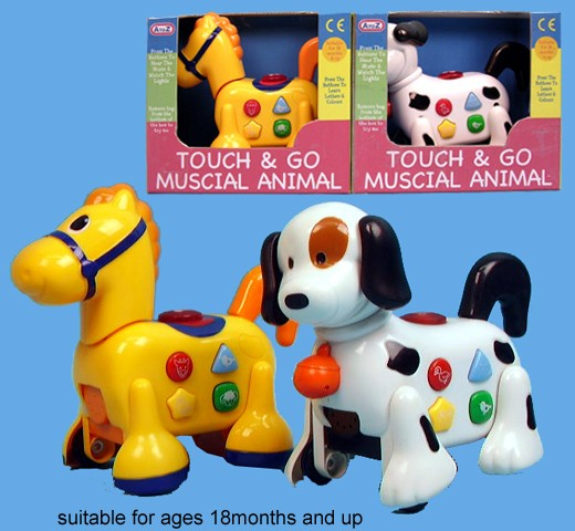 Play Learn Touch & Go Muscial & Light Up Animal Toys