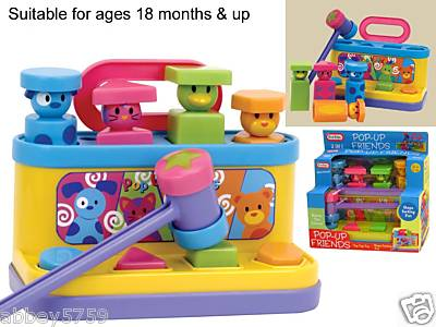 Pop Up Friends + Hammer Shape Sorter Toy Activity Toys